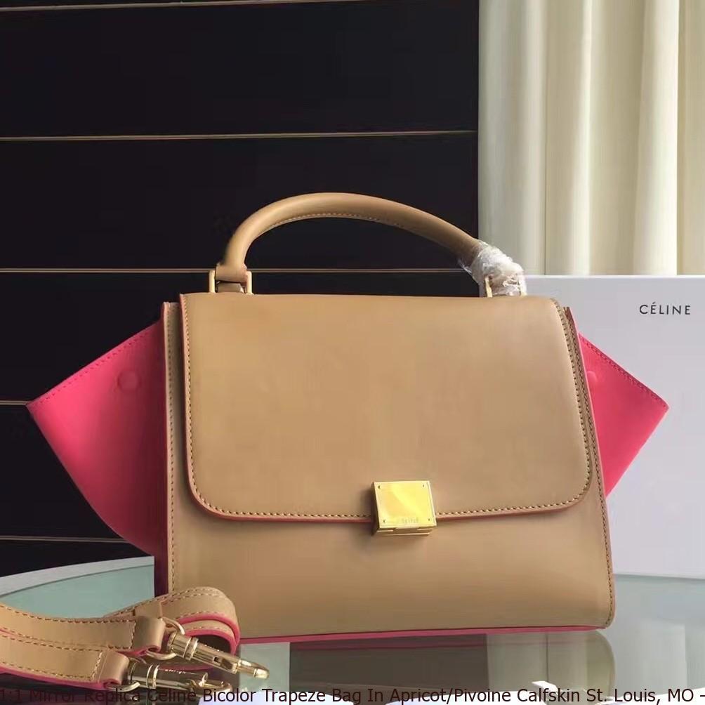 dc6efd14b0 1 1 Mirror Replica Celine Bicolor Trapeze Bag In Apricot Pivoine ...
