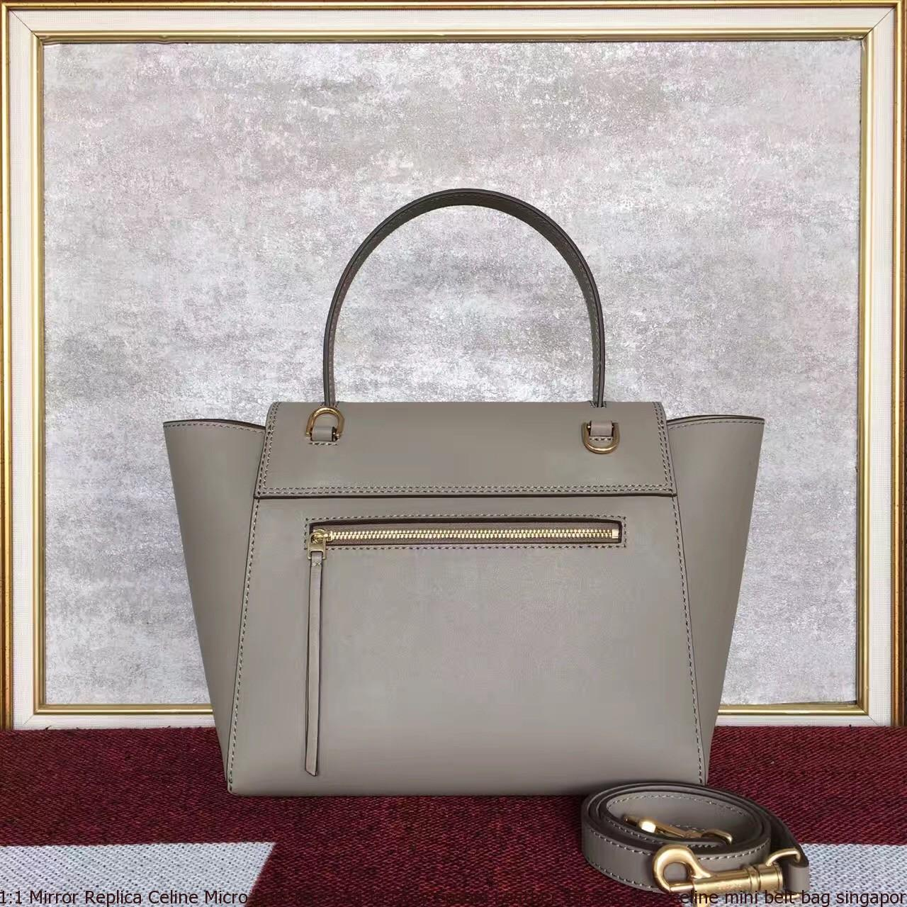 67d5cdd461 1 1 Mirror Replica Celine Micro Belt Tote Bag In Grey Epsom Leather ...