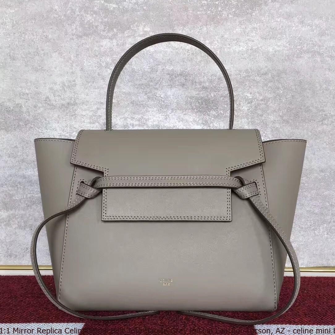 520c698c0177 1 Mirror Replica Celine Micro Belt Tote Bag In Grey Epsom Leather